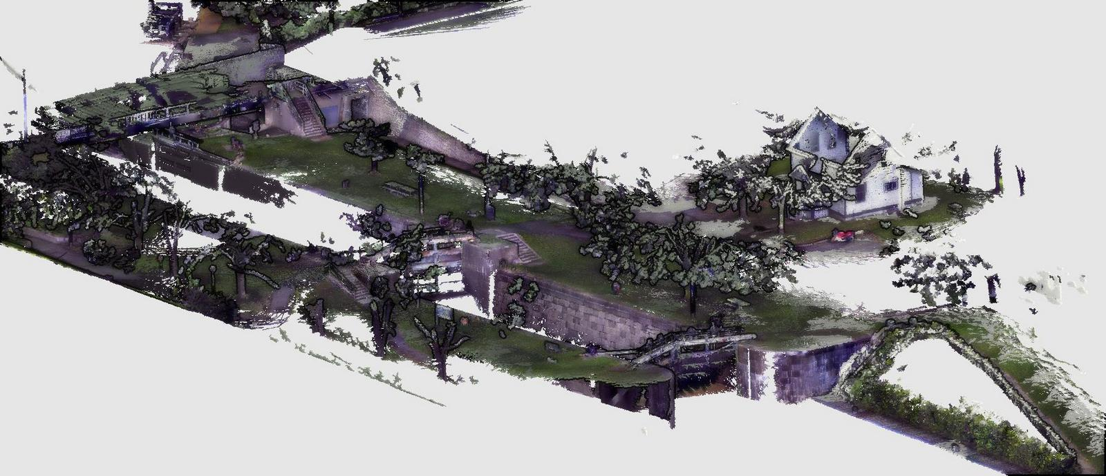 Images from point cloud model of Hogs Back Locks - scanned with Kaarta Contour