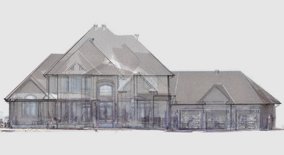 Mixed media model for residential pre-design drawings. The building envelope and main floor scanned with Kaarta Contour. Photogrammetric model adds detail to facade and rooflines.
